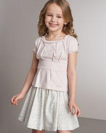 Little Marc Empire-Waist Top & Floral-Print Skirt