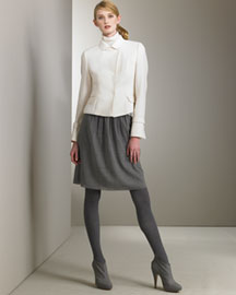 Akris Punto Snap Jacket & Gathered Skirt -  Akris Punto -  Neiman Marcus :  jacket gathered mock-neck akris punt