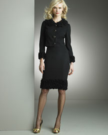 D&G Dolce & Gabbana Ruffled Jacket & Pencil Skirt- Contemporary- Neiman Marcus