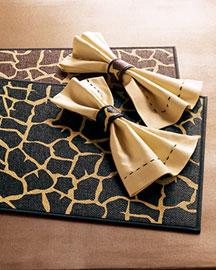 Kim Seybert Giraffe-Print Table Linens, Set of Four- Neiman Marcus from neimanmarcus.com