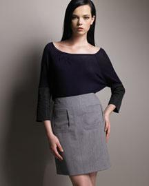 Chole Color-Block Top & Birdseye Box-Front Skirt- Women's Apparel- Neiman Marcus
