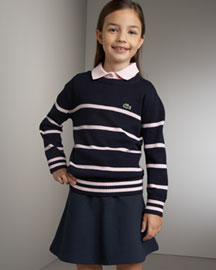 Lacoste Striped Sweater & Logo Skirt -  Dresses & Skirts -  Neiman Marcus