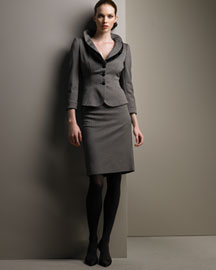 Armani Collezioni Orzo Check Suit -  Fall Preview -  Neiman Marcus :  wool armani dark brown armani collezioni