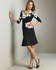 Blumarine Floral Top and Stretch Wool Skirt -  Blumarine -  Neiman Marcus :  wool mod daywear print