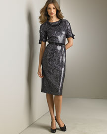 Blumarine Printed Silk Dress & Silk Bow Belt -  Fine Apparel -  Neiman Marcus :  sexy metallic womens animal print