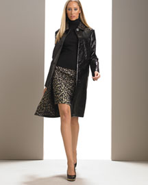 Michael Kors Jacquard Coat & Cheetah-Print Brocade Mini -  Apparel -  Neiman Marcus :  wool italy cheetah-print long sleevees