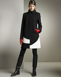Piazza Sempione Long Coat & Patent Leather Gloves -  Piazza Sempione -  Neiman Marcus