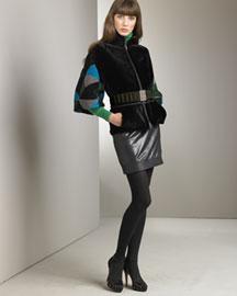 Fendi            Shearling Jacket & Leather Skirt-  Neiman Marcus