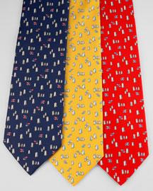 Salvatore Ferragamo Fish & Penguin Tie- Whimsical- Neiman Marcus