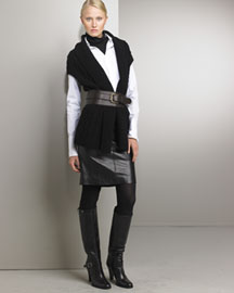 Ralph Lauren Black Label Cardigan & Leather Skirt -  Apparel -  Neiman Marcus :  ralph lauren apparel designer clothes cardigan
