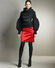 Christian Lacroix Knit Sweater & Satin Pencil Skirt -  Apparel -  Neiman Marcus :  tassels red sole sexy leg-of-mutton