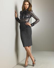 D&G Dolce & Gabbana Bow Blouse & Pencil Skirt- European Contemporary- Neiman Marcus