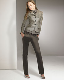 Derercuny Seamed Leather Jacket & Satin Pants -  Derercuny -  Neiman Marcus :  pants apparel designer satin