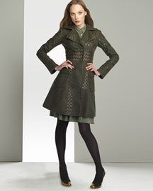 Graeme Black Woven Leather Coat & Jersey Military Dress -  Graeme Black -  Neiman Marcus