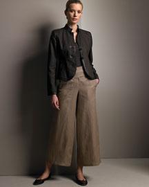 Armani Collezioni Linen Jacket & Cropped Wide-Leg Pants- Fine Apparel- Neiman Marcus