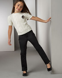 Burberry Bacar Cable Sweater & Pelbin Trousers -  Pants & Jeans -  Neiman Marcus :  childrens burberry cable sweater kids