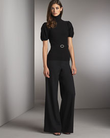 Tracy Reese Belted Turtleneck & Wide-Leg Pants -  Tracy Reese -  Neiman Marcus :  woman style wide leg pants turtleneck