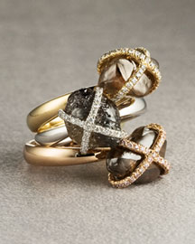 Diamond In The Rough            Solitaire Stack Rings -   Rings - Neiman Marcus