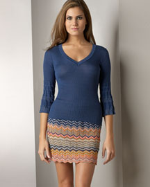 • Pyramid Bell-Sleeve Top: Marine (blue). Ribbed. V neckline. Three-quarter bell sleeves. Cotton/viscose. 