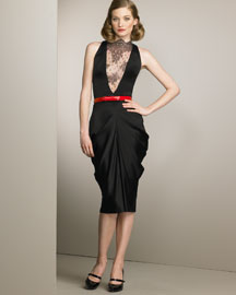 Alexander McQueen Lace-Inset Dress & Belt -  Neiman Marcus :  lace designer clothes evening dress design