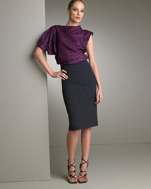 Yves Saint Laurent Asymmetric Silk Blouse & Pencil Skirt -  Fine Apparel -  Neiman Marcus :  blouse assymetrical fashion yves saint laurent