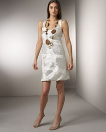 Lela Rose            Tank Dress & Multicolor Necklace -   		Evening - 	Neiman Marcus :  lela rose wooden bead brown silk charmeuse