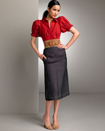 Donna Karan Collection Panama Shirt & Linen Denim Fitted Skirt