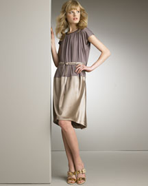 • Color-Block Dress: Boysenberry (mauve)/taupe. Shirred front and back. Scoop neckline. Cap sleeves. Dropped waist. Viscose/nylon; lining, pure silk. Made in Italy of domestic material. 