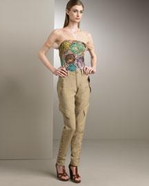 Jean Paul Gaultier Fishnet Top & Pinstripe Pants- Skinny- Neiman Marcus :  pants jean paul gaultier jodhpur pinstripe