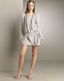 Nina Ricci Hand-Crocheted Cardigan & Drop-Waist Dress -  Spring -  Neiman Marcus