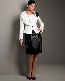 Armani Collezioni Basket-Weave Jacket & Reptile-Print Skirt -  Pre-Fall Collections -  Neiman Marcus