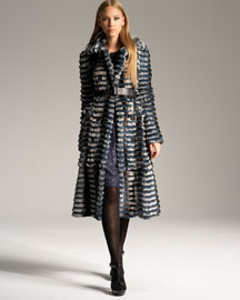 Burberry Prorsum Degrade Fur Coat & Metallic Dress  -  Burberry -  Neiman Marcus :  coat rabbit fur burberry prorsum