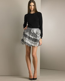 D&G Dolce & Gabbana Cashmere Knit Top & Tiered Silk Skirt -  Looks -  Neiman Marcus :  lacoste knit summer womens