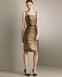 Dolce & Gabbana            Mikado Silk Cocktail Dress & Skinny Belt -   		Dresses - 	Neiman Marcus :  leopard cocktail dress