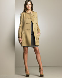 Stella Mccartney Military Coat & Pleated Dress -  Stella McCartney -  Neiman Marcus :  cold weather pre fall 2008 apparel design