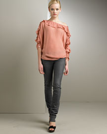 Stella McCartney Ruffled Silk Top & Skinny Jeans -  Stella McCartney -  Neiman Marcus :  pink apparel designer fashion designer