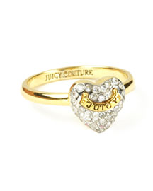 Juicy Couture            Pave Puffed Heart Ring-  New Arrivals-Neiman Marcus