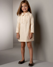 Chloe Herringbone Dress :  ruffles clothing kids peter pan collar