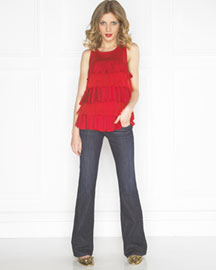 Juicy Couture Tiered Chiffon Top & Miller Devon Jeans -  Apparel -  Neiman Marcus