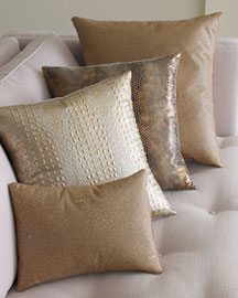 Wimberly Metallic Leather Pillows -  Pillows & Throws -  Neiman Marcus :  accents luxury leather decor