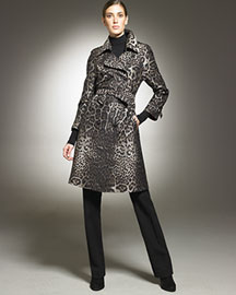 St. John Collection Leopard Trench & Riding Pants- St. John Trunk Show- Neiman Marcus