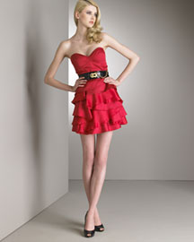 Temperley London Layered Skirt Dress and Leather Belt :  belt layers dress red dress