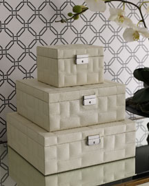 Quilted Boxes -   		Decorative Accents - 	Neiman Marcus :  leather hollywood regency white stacking
