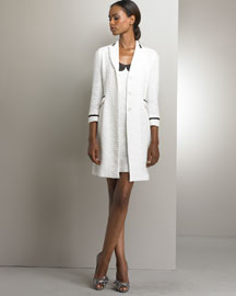 Light Boucle Contrast Coat & Boucle Dress  -  Neiman Marcus :  raceback italy dress viscose from bamboo