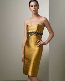 Carolina Herrera Strapless Metallic Dress -  Carolina Herrera -  Neiman Marcus