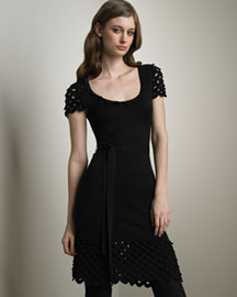 Temperley London Crocheted-Trim Silk Dress -  Temperley London -  Neiman Marcus :  short sleeves dress rayon waist