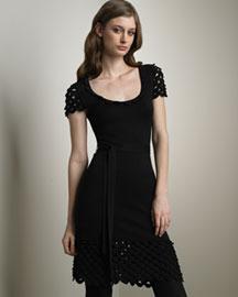 Temperley London Crocheted-Trim Silk Dress- Temperley London- Neiman Marcus