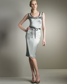 Dolce & Gabbana Napa-Trim Silk Dress -  Shades of Gray -  Neiman Marcus :  italy tie waist pencil skirt gray