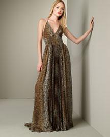 D&G Dolce & Gabbana Leopard Halter Gown- Apparel- Neiman Marcus
