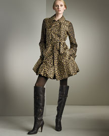 Moschino Cheap & Chic Leopard-Print Silk Trench -  Moschino Cheap & Chic -  Neiman Marcus :  tan double-breasted moschino trech